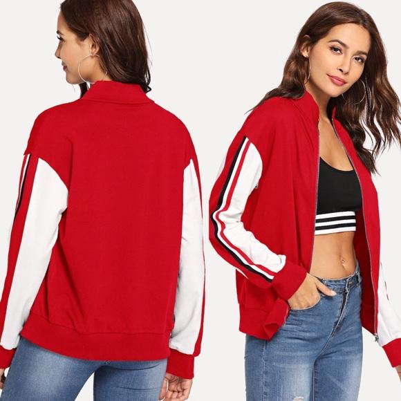 Jackets & Blazers - Sporty Lightweight Full Zip Red Track Jacket